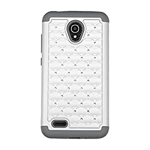 Asmyna Phone Case for ALCATEL 7046T (One Touch Conquest) - Retail Packaging - Gray/White
