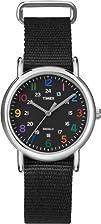 Timex Womens T2N869 Weekender Slip-Thru Black Nylon Strap Watch
