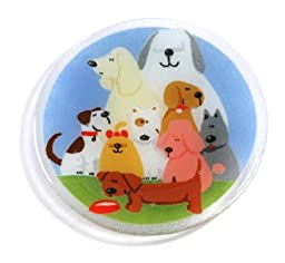Peggy Karr Handcrafted Art Glass Dog Pound Plate, Round, 8-Inch