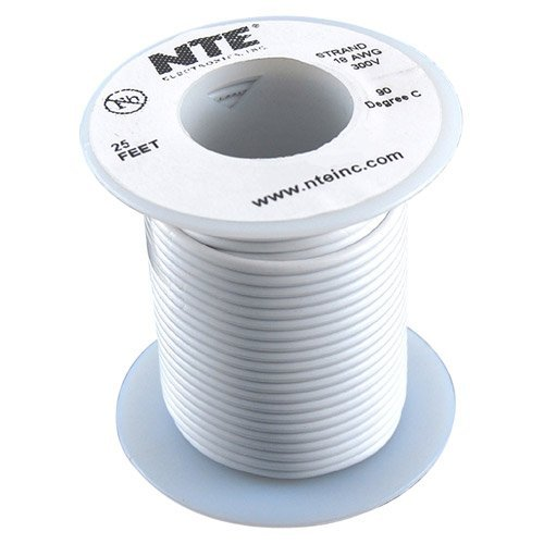 Nte Stranded 18 Awg Hook-Up Wire White 25 Ft.