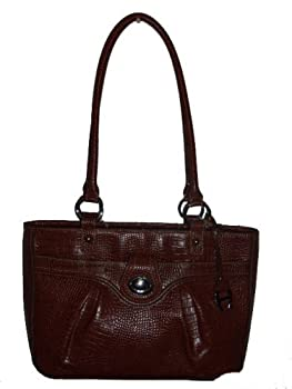 "Etienne Aigner ""Trina"" Tobacco Brown Croc Bag Hanbag Purse"