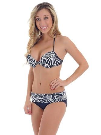 Womens Ann Cole Bikini Swimsuit Navy and White Halter Push Up Bathing