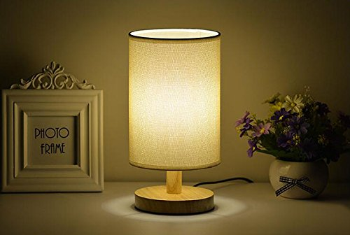 Simple Designs Khakis Wooden Basic Table Lamp with Fabric Shade with Dimmer Switch Desk Lamp (Small Stained Glass Lamp Shade compare prices)