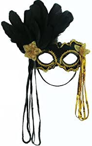 Mask It 71084 Black Satin Half Mask with Gold Twist from Midwest Design Imports, Inc.