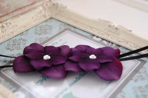 Gorgeous Deep Plum Double Flower with Large Swarovski Crystals Centers and Soft Stretch Headband