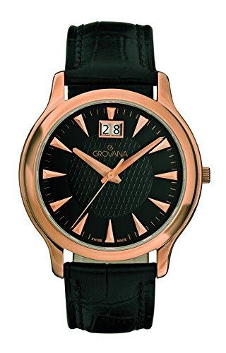 GROVANA 1030.1567 - Reloj de pulsera hombre, piel, color negro