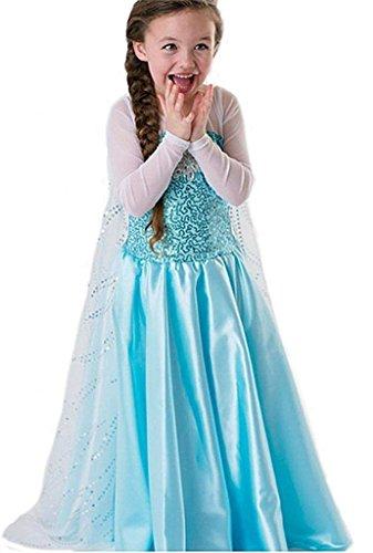 """Costume bambina """"Regina del Ghiaccio/Principessa delle Nevi"""" con strascico - Blu - Tg. 120 (110-116)"""