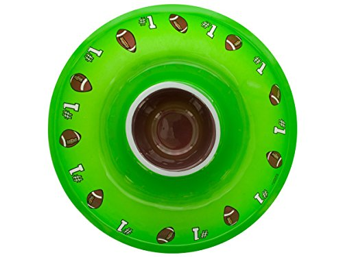 "Creative Converting Round 12.5"" Diameter Plastic Chip and Dip Tray, Football - 1"