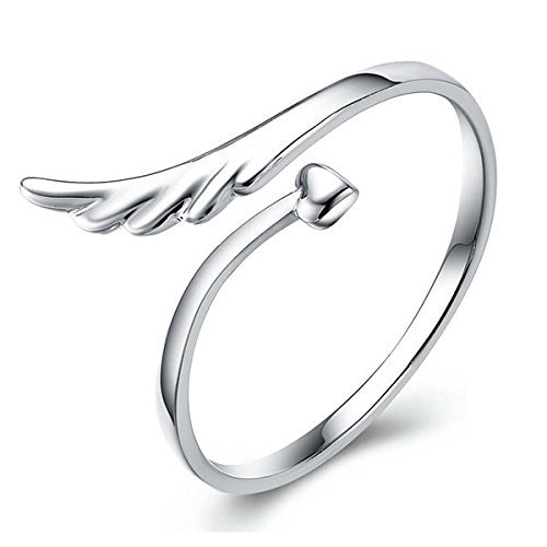 bestwishes2u Angel Wing Heart Silver Eternity Rings Christmas Gift Silver Promise Love Ring Wedding Jewelry