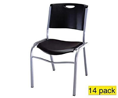Lifetime 2830 Commercial Contoured Black Stacking Chair 14 Pack