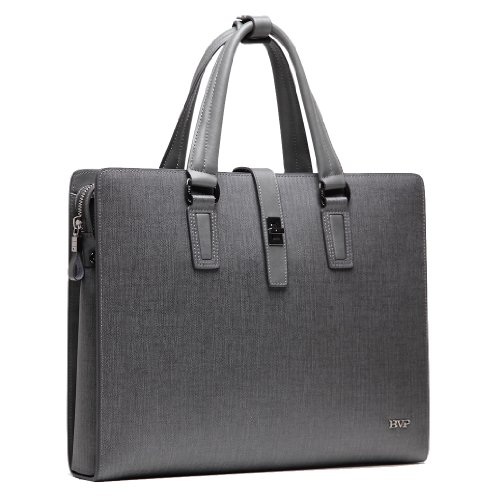 "Bvp Mens Real Leather Fashion Business Briefcase Attache Portfolio 13"" Laptop Bag (Gray) front-170618"