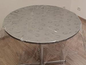 soleil d 39 ocre 855615 tischdecke aus pvc rund spiral motiv transparent 160 x 160 cm amazon. Black Bedroom Furniture Sets. Home Design Ideas