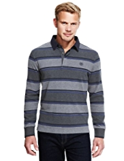 Blue Harbour Pure Cotton Double Block Striped Rugby Shirt