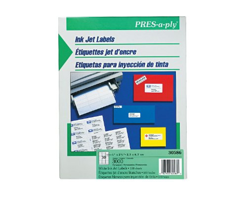 Pres-A-Ply Inkjet Address Labels, 2.625 X 1 Inches, White, Box Of 3000 (30586)
