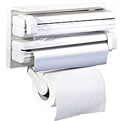 DivineXt Triple Paper Dispenser For Cling Film Wrap Aluminium Foil & Kitchen Roll