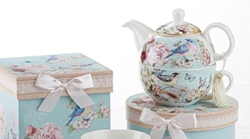 Delton Products Porcelain Tea for One with Decorative Gifts Box, Blue Bird (Teapots For One compare prices)