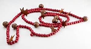 Rusty Tin Stars & Rusty Jingle Bells on Red Wood Bead Garland for Holidays, and Home Decor