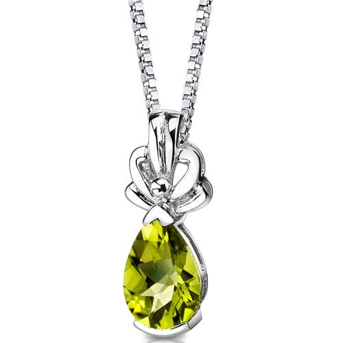 Revoni Royal Grace: Sterling Silver 2.00 carats Pear Shape Checkerboard Cut Peridot Pendant with 46 CM Length Silver Necklace,