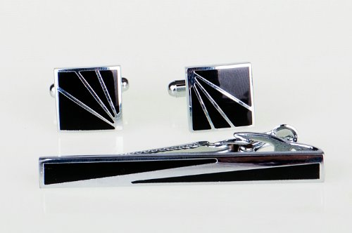Lodestar Galaxy Square Flashes Cufflink & Tieclip Set with Gift Box (ACK-21)