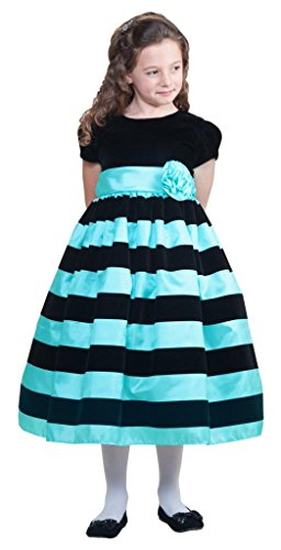 Crayon Kids Little Girls White Stripe Special Occasion Dress 2T To 10 Years Mint Size 5-6 Years front-721525