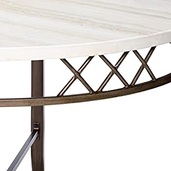 Acme Furniture Acme 73000 Aldric Faux Marble Dining Table, Antique Finish