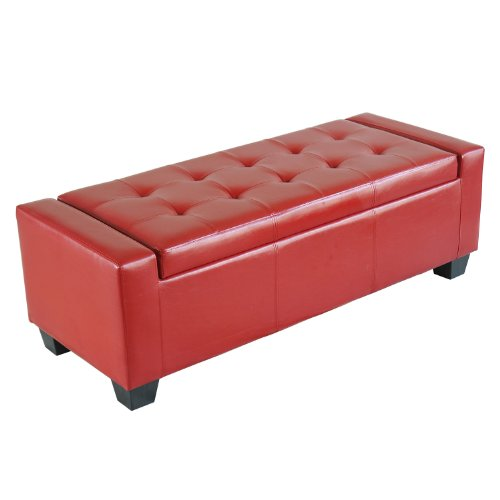 homcom faux leather storage ottoman shoe bench red