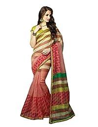 IndiWeaves Women Super Net Printed Red Saree - B00VPXCH2A