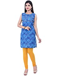 Rene Women's Blue Printed Sleeve Less With Round Neck Cotton Short Kurti (Separate Sleeves)