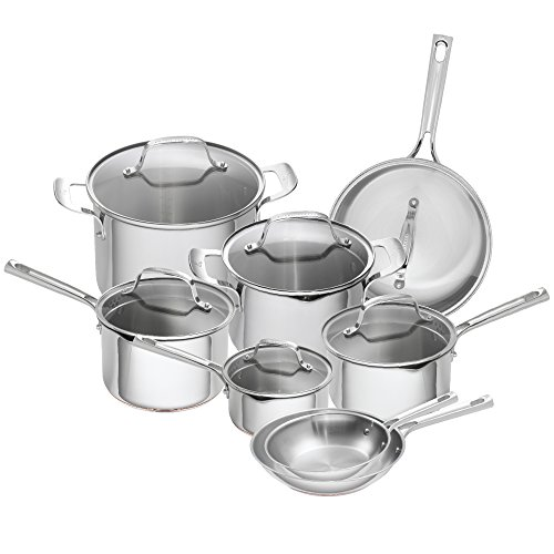 Emeril Lagasse 14 Piece Stainless Steel Copper Core Cookware Set, Assorted, Silver (Lagasse Cookware compare prices)