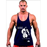 Dk BODY BUILDING STRINGER, GYM VEST, VEST, GYM STRINGER VEST 100% COTTON - Navy Blue Printed