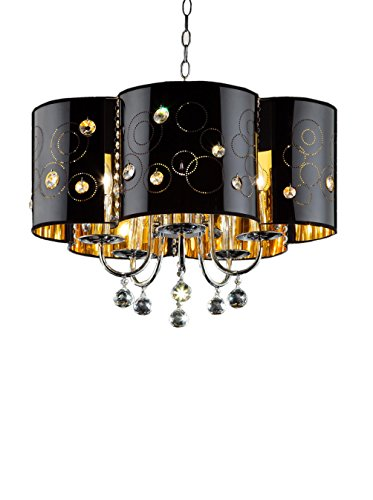ORE International Starry Night 5-Light Ceiling Lamp, Black
