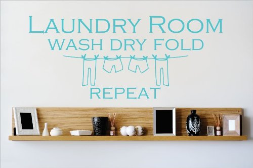 Design with Vinyl OMG 526  As Seen Room Wash Dry Fold Repeat Quote Lettering Decal Home Decor Kitchen Living Room Bathroom, 12x30-Inch, As Seen