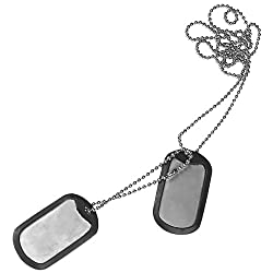 Military Army Dog Tag Necklace Fancy Dress Party Stag Nights with Rubber Silencers by Helikon