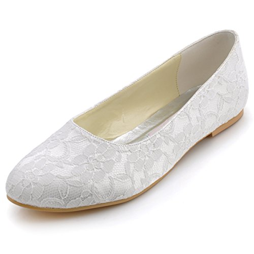 ElegantPark EP11106 Women's Closed Toe Flats Low Heel Lace Wedding Bridal Shoes Ivory US 7