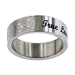 Christian Women's Stainless Steel Abstinence True Love Waits Floral Chastity Purity Ring for Girls