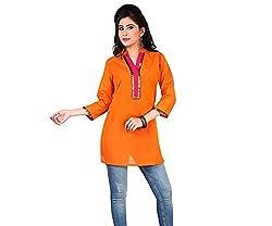 Ecostyle Women's Cotton Kurti (EMKS03_Yellow_Large)