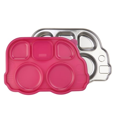 Innobaby Din Din Smart Stainless Divided Platter with Sectional Lid, Pink