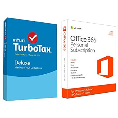 TurboTax Deluxe 2015 Federal + Fed Efile Tax Preparation Software - PC/Mac Disc with Microsoft Office 365 Personal 1 Year | PC or Mac Key Card