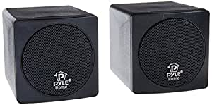 Pyle Home PCB3BK 3-Inch 100-Watt Mini Cube Bookshelf Speakers - Pair (Black) (Pair)