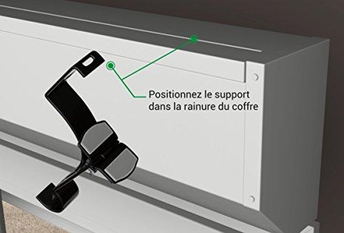 1 support sans perçage GEKO pour tringle à rideaux diamètre 28 mm - Spécial caisson de volet roulant à rainure - Colori : Blanc