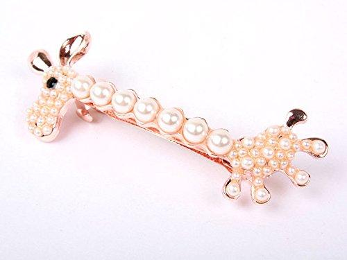 キリン 合金 ヘアピン キラキラ 髪飾り 女性 真珠