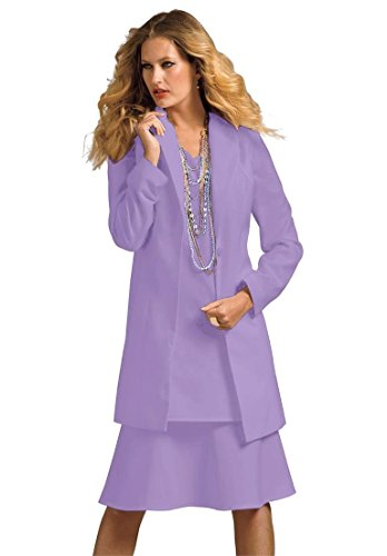 Roamans Women's Plus Size Duster Jacket With A-Line Dress Lilac,18 W