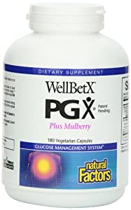 Natural Factors Wellbetx PGX Plus Mulberry Veg. Capsules, 180-Count