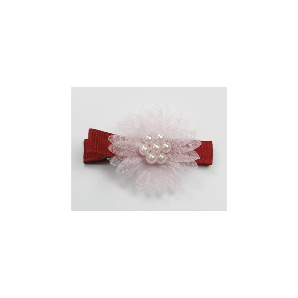 Stylish Pearl Flower   Baby Girl & Toddler Hair Clip   Pink & Red