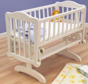 SAPLINGS BABY GLIDER / ROCKING CRIB IN WHITE Plus MATTRESS
