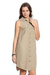 Women Brown Linen Shirt Dress