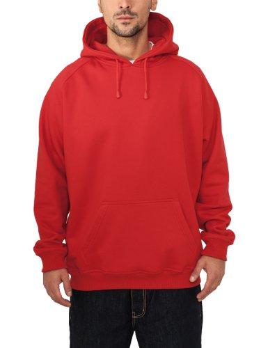 Urban Classics TB014 Blank Hoody Felpa Cappuccio Uomo Urban Fit (Red, 5XL)