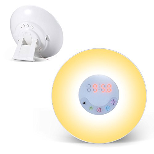Balla Bébé Wake-Up Light with Touch Control, Sunrise Simulation Alarm Clock, Night Light, 5 Colors 3 Brightness Lamp, Nature Sounds & FM Radio Sound