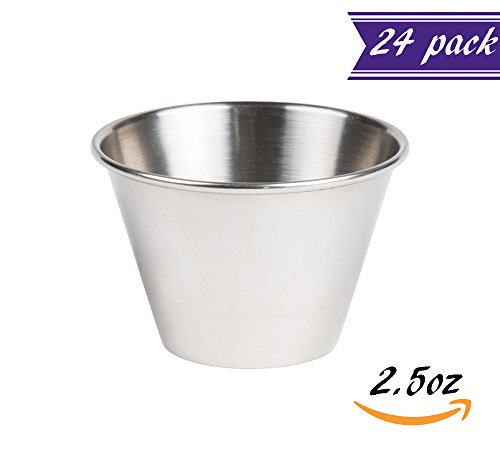 Set of 24 Stainless Steel Portion Cups 2.5 oz, Individual Condiment Sauce Cups - 2 1/2 ounces (Tartar Sauce Cups compare prices)