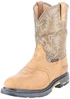 Ariat Men's Workhog Pull-on H2O Work Boot, Aged Bark/Army Green, 7 M US
